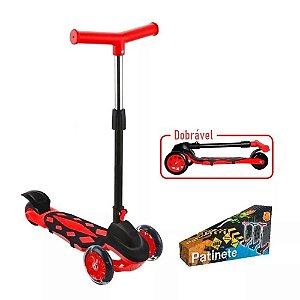 Patinete Radical Power Trinete 3 Rodas Dobravel  Vermelho - Dm Toys