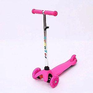 Patinete Infantil Spin com 3 Rodas e Luz Led - Rosa