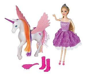 Boneca Lucy Princesa Com Unicórnio Brinquedo Braskit