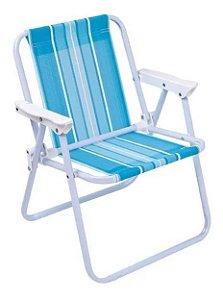 Cadeira Infantil Azul Aço Dobrável Praia - Mor