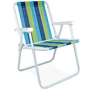 Cadeira Alta de Aço MOR Verde e Azul