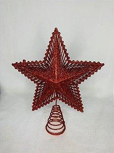 Estrela Para Ponta De Árvore Vermelha 24 Cm - Wincy Natal