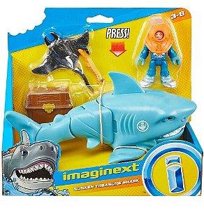 Figura E Veículo - 19cm - Imaginext - Tubarão - Fisher-price