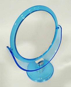 Espelho de Mesa Redondo Dupla Face Azul - Wincy