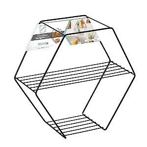 Prateleira Nicho Hexagonal Decora Black - Arthi