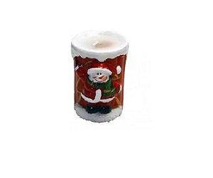 Enfeite De Natal Cerâmica Vela Boneco De Neve - Master Christimas
