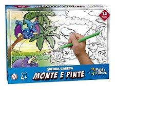 Quebra Cabeça 24 Peças Monte E Pinte Dinossauros - Pais & Filhos