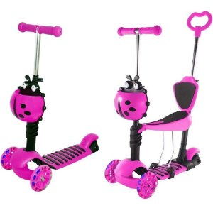 Patinete 2 EM 1 Joaninha Rosa - Dm Toys