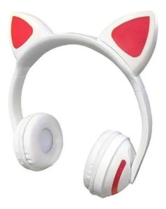 Fone Orelha de Gato Branco Wireless com LED Fashion Ear Cat M1