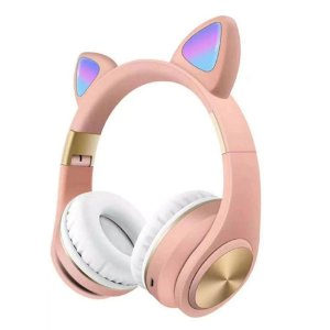 Fone Orelha de Gato Rosa Wireless com LED Fashion Ear Cat M1