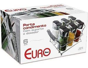 Porta Condimento Com Suporte 6 peças Inox E Vidro - Euro Home