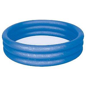 Banheira Infantil Inflável Redonda 3 Anéis 130 Litros Azul - Mor