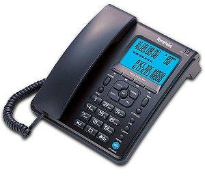 Telefone Fixo C/ Visor LCD Identificador De Chamada Viva Voz Capta Fone Preto Bright