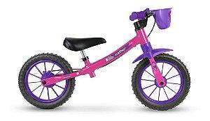 Bicicleta Infantil Nathor Sem Pedal Balance Bike Rosa E Roxo Feminina