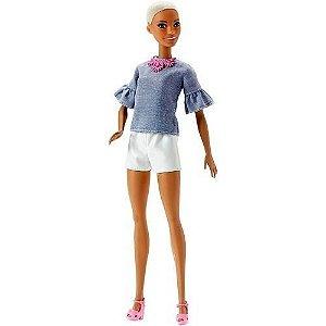 Boneca Barbie Fashionista Morena Negra Careca 2019 Top - Mattel