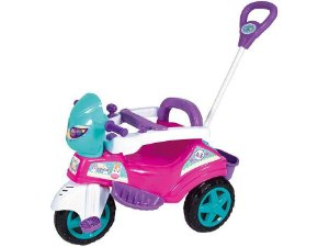 Triciclo Infantil Baby City Menina com Empurrador - Maral