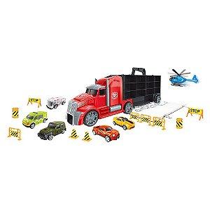 Caminhão Bombeiro Maleta Com Rampa Para Os Carrinhos  - Dm Toys