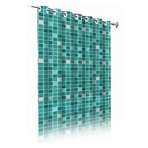 Cortina Box De Banheiro Em PVC Com Ilhós Estampada Pastilha Verde