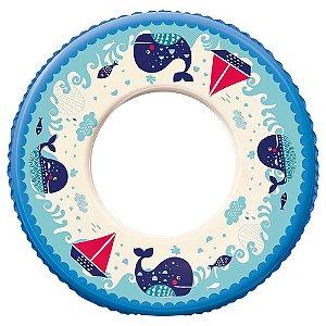 Boia Infantil Rosa Inflável Redonda Plástica Ø 60cm Azul - Mor