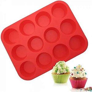 Forma De Cupcake Silicone 12 bolinhos Vermelho - Kehome