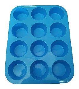 Forma De Cupcake Silicone 12 bolinhos Azul - Kehome