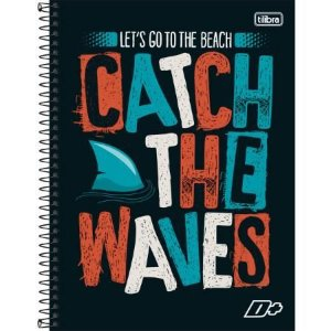 Caderno Universitário Capa Dura 10x1 200 Folhas Catch The Waves D+ Masculino - Tilibra