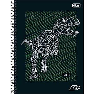 Caderno Universitário Capa Dura 10x1 200 Folhas Dinossauro D+ Masculino - Tilibra