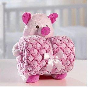 Kit Manta Baby Com Bichinho De Pelúcia Rosa
