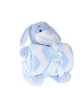 Kit Manta Baby Com Bichinho De Pelúcia azul