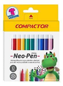 Canetinha Hidrográfica 12 Cores Compactor Neo Pen Mirim