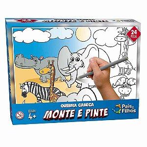 Quebra Cabeça Monte e Pinte - Animais Safari - 24 Peças - Pais e Filhos