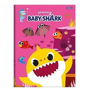 Caderno Brochura Pequeno Baby Shark Rosa 96 folhas - Foroni