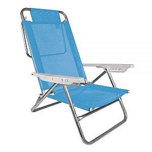 Cadeira de Alumínio Reclinável 6 Posições Summer Fashion Azul Mor
