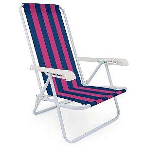 Cadeira Praia 4 Posiições Roxa e Azul Mor