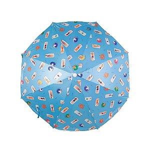 Guarda-Sol Fashion 1,60m Estampa Azul Claro - Mor