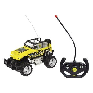 Carrinho de Controle Remoto Amarelo sem Fio Jipe Champion com 4 Funções - DM TOYS
