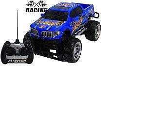 Carro De Controle Remoto Eletrônico Acende Farol Furious Racer Team Menino Azul Resistente Original - Vip Toys