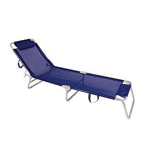 Cadeira Espreguiçadeira Alumínio Azul Marinho - Mor