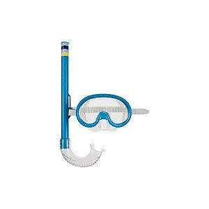 Máscara De Mergulho E Snorkel Infantil  Azul Mor