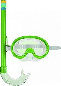 Máscara De Mergulho E Snorkel Infantil  Verde Mor