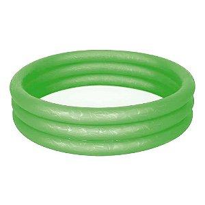 Piscina Infantil Inflável Redonda 3 Anéis 130 Litros Verde - Mor