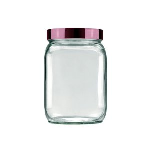 Pote de Vidro Quadrado Metalizado 1,3L Lilás - Invicta