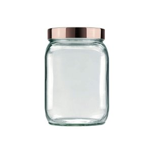 Pote de Vidro Quadrado Metalizado 1,3L Rosa - Invicta