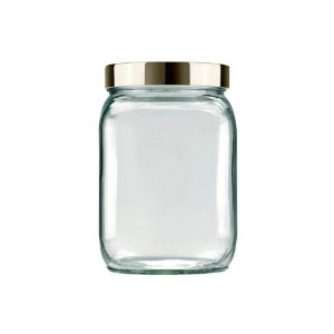 Pote de Vidro Quadrado Metalizado 1,3L Prata - Invicta