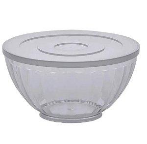 Tigela / Saladeira De Acrílico Redonda Bowl Canelatta Com Tampa transparente 3,6L - Paramount