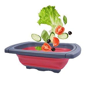 Escorredor Retrátil Silicone Salada Macarrão Dobrável Vermelha - Amigold
