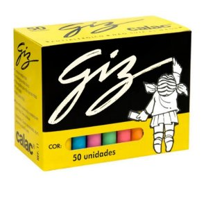 Giz Colorido 50 Unidades Cores Sortidas - Calac