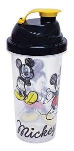 Shakeira Plástico Mickey 580ml Com Tampa E Misturador - Plasutil