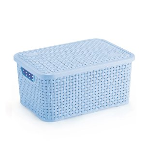 Cesto Organizador Rattan Médio Com tampa Azul - Nitron
