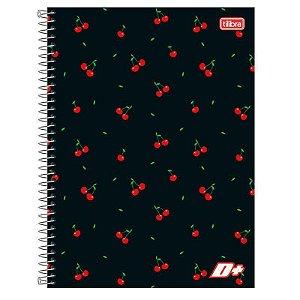 Caderno espiral capa dura universitário 10 Materias - 200 folhas - D Mais - Cereja - Tilibra